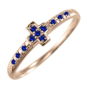 指輪 クロス デザイン サファイア 9月誕生石 k10ピンクゴールド|skybell