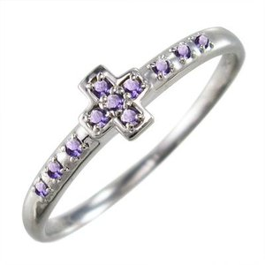 10kホワイトゴールド リング アメシスト(紫水晶) 2月誕生石 クロス|skybell