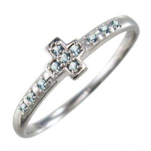 アクアマリン 指輪 クロス デザイン 3月誕生石 10kホワイトゴールド|skybell