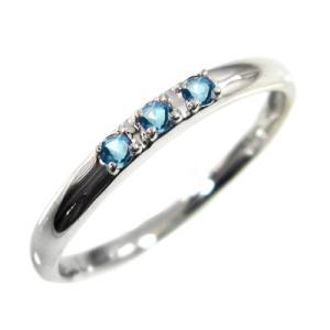 指輪 3ストーン ブルートパーズ(青) 11月誕生石 ホワイトゴールドk10 skybell