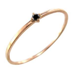 ブラックダイヤ(黒ダイヤ) 指輪 4月の誕生石 k10ピンクゴールド 幅約1mmリング 極細|skybell