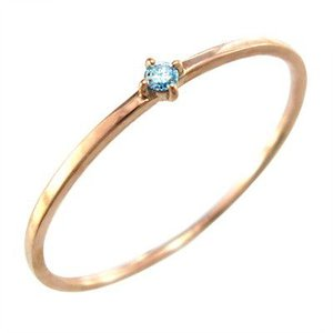 10金ピンクゴールド 指輪 ブルートパーズ(青) 11月の誕生石 幅約1mmリング 極細|skybell