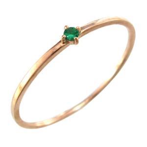 指輪 エメラルド k10ピンクゴールド 幅約1mmリング 極細|skybell