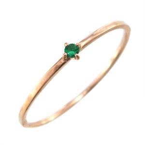 指輪 エメラルド k10ピンクゴールド 幅約1mmリング 極細|skybell|03