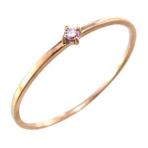 指輪 ピンクトルマリン 10月の誕生石 k10ピンクゴールド 幅約1mmリング 極細|skybell
