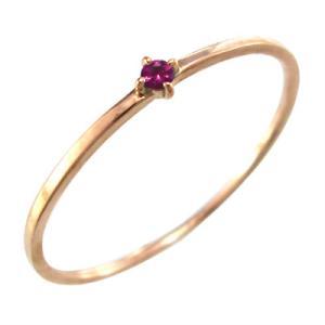 指輪 ルビー ピンクゴールドk10 7月の誕生石 幅約1mmリング 極細|skybell
