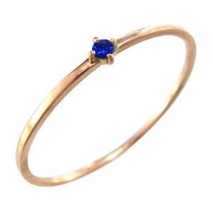 指輪 サファイア 9月誕生石 k10ピンクゴールド 幅約1mmリング 極細|skybell