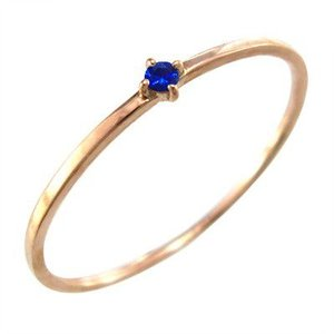 k10ピンクゴールド 指輪 ブルーサファイア 幅約1mmリング 極細|skybell