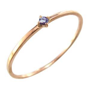 タンザナイト 指輪 10kピンクゴールド 12月誕生石 幅約1mmリング 極細|skybell