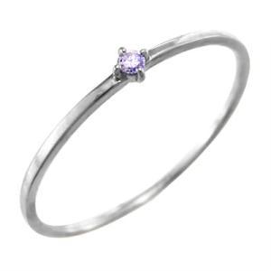 k10ホワイトゴールド 指輪 アメジスト(紫水晶) 2月の誕生石 幅約1mmリング 極細|skybell