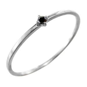 指輪 ホワイトゴールドk10 ブラックダイアモンド 4月の誕生石 幅約1mmリング 極細|skybell
