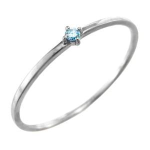 指輪 ブルートパーズ k10ホワイトゴールド 幅約1mmリング 極細|skybell