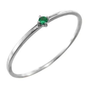 指輪 k10ホワイトゴールド エメラルド 5月の誕生石 幅約1mmリング 極細|skybell