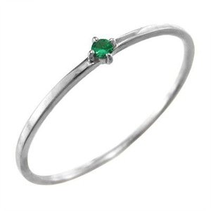 エメラルド 指輪 5月の誕生石 10金ホワイトゴールド 幅約1mmリング 極細|skybell
