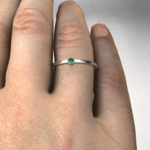 指輪 k10ホワイトゴールド エメラルド 5月の誕生石 幅約1mmリング 極細|skybell|02