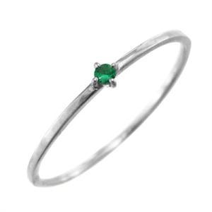指輪 k10ホワイトゴールド エメラルド 5月の誕生石 幅約1mmリング 極細|skybell|03