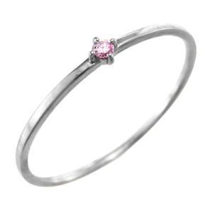 指輪 ピンクトルマリン 10月の誕生石 k10ホワイトゴールド 幅約1mmリング 極細|skybell