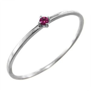 指輪 ルビー k10ホワイトゴールド 7月の誕生石 幅約1mmリング 極細|skybell