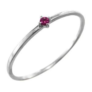 指輪 ルビー k10ホワイトゴールド 幅約1mmリング 極細|skybell