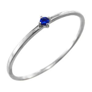 指輪 サファイヤ ホワイトゴールドk10 9月誕生石 幅約1mmリング 極細|skybell