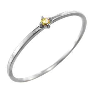 10kホワイトゴールド リング (黄水晶)シトリン 11月の誕生石 幅約1mmリング 極細|skybell
