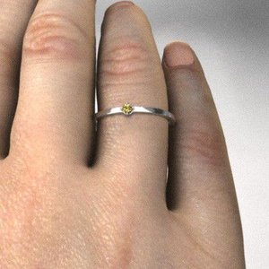 10kホワイトゴールド リング (黄水晶)シトリン 11月の誕生石 幅約1mmリング 極細|skybell|02