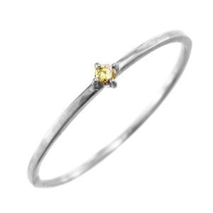10kホワイトゴールド リング (黄水晶)シトリン 11月の誕生石 幅約1mmリング 極細|skybell|03