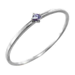 10金ホワイトゴールド 指輪 タンザナイト 幅約1mmリング 極細|skybell