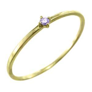アメシスト 指輪 2月誕生石 k10イエローゴールド 幅約1mmリング 極細|skybell