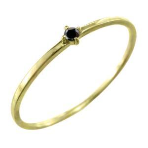 k10イエローゴールド 指輪 ブラックダイヤ(黒ダイヤ) 4月の誕生石 幅約1mmリング 極細|skybell
