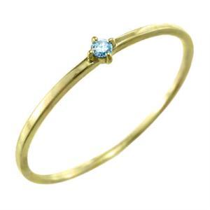 リング ブルートパーズ(青) 11月の誕生石 10kイエローゴールド 幅約1mmリング 極細|skybell