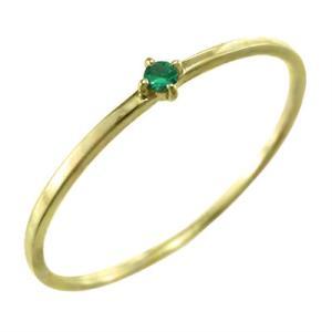 10kイエローゴールド 指輪 エメラルド 5月の誕生石 幅約1mmリング 極細|skybell