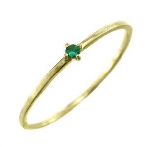 10kイエローゴールド 指輪 エメラルド 5月の誕生石 幅約1mmリング 極細|skybell|03