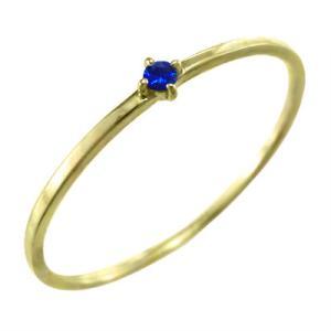指輪 サファイヤ イエローゴールドk10 9月誕生石 幅約1mmリング 極細|skybell