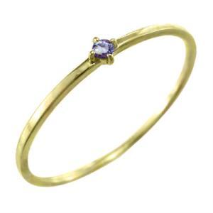 指輪 タンザナイト 12月誕生石 k10イエローゴールド 幅約1mmリング 極細|skybell