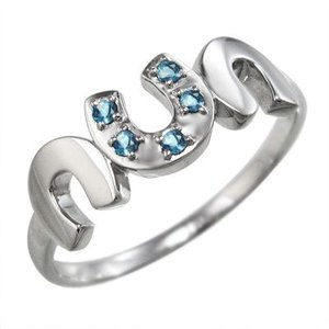 指輪 白金(プラチナ)900 蹄鉄型 5ストーン ブルートパーズ(青) 11月誕生石 skybell
