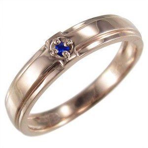 ブルーサファイア 指輪 クロス デザイン 一粒 9月の誕生石 k10ピンクゴールド|skybell