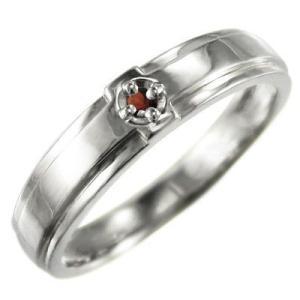 k10ホワイトゴールド クロス デザイン 指輪 一粒 ガーネット|skybell