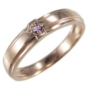 アメシスト(紫水晶) 指輪 クロス デザイン 一粒 2月誕生石 10金ピンクゴールド skybell