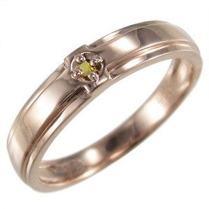指輪 一粒 クロス デザイン シトリン k10ピンクゴールド skybell