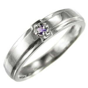アメシスト(紫水晶) 指輪 クロス デザイン 一粒 2月誕生石 10金ホワイトゴールド skybell