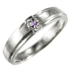 10kホワイトゴールド リング クロス十字架 一粒石 2月誕生石 アメシスト(紫水晶)|skybell