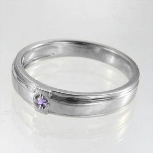 10kホワイトゴールド リング クロス十字架 一粒石 2月誕生石 アメシスト(紫水晶)|skybell|04