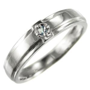 指輪 一粒 十字架 アクアマリン 3月の誕生石 ホワイトゴールドk10 skybell