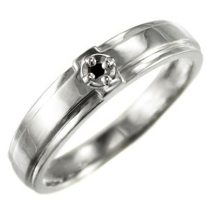 クロス 1粒石 リング ブラックダイヤモンド k10ホワイトゴールド skybell
