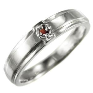 指輪 一粒 十字架 ガーネット 10kホワイトゴールド skybell