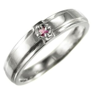 指輪 1粒 石 クロス ジュエリー ピンクトルマリン 10月誕生石 k10ホワイトゴールド skybell