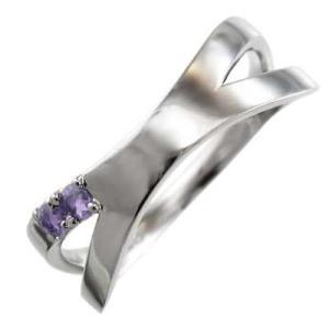 平たい リング クロス ヘッド アメシスト(紫水晶) 白金(プラチナ)900 X型|skybell
