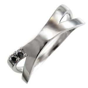 ブラックダイヤ(黒ダイヤ) 平らな指輪 クロス ジュエリー 4月の誕生石 プラチナ900 X型|skybell