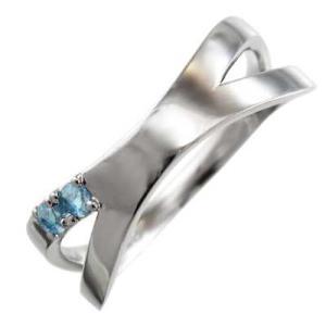 Pt900 平らな指輪 ブルートパーズ(青) 11月の誕生石 クロス ジュエリー X型|skybell